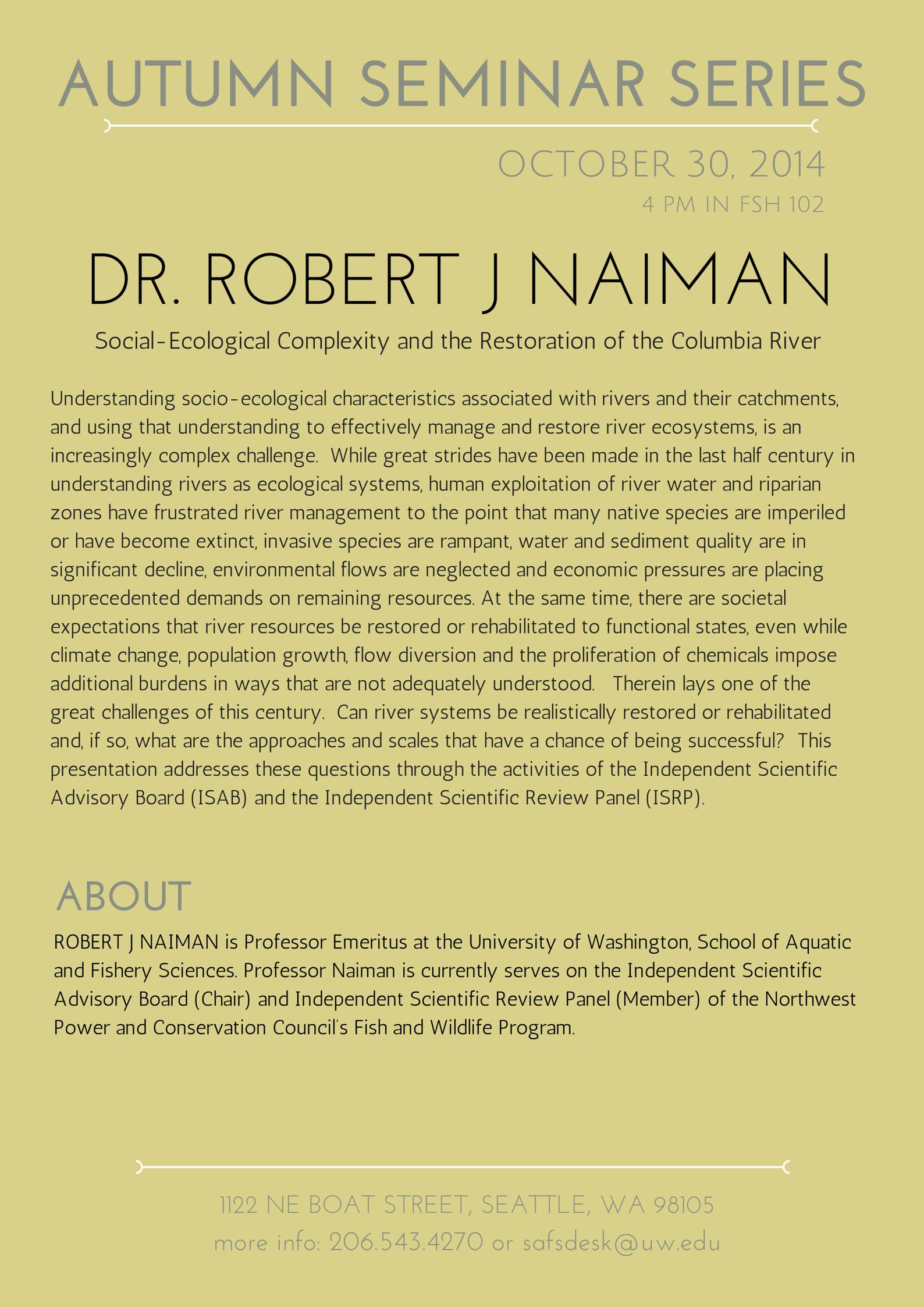Naiman, Oct. 30 Seminar